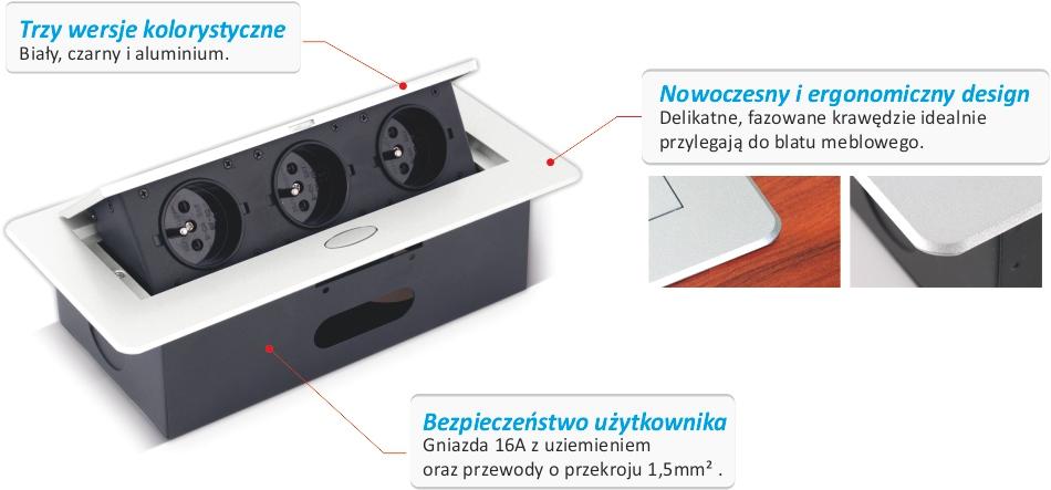 Gniazdo meblowe - Kombi Box od Design Light