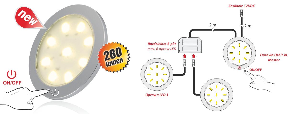 Orbit XL Master - oprawa LED z dotykowy wyłącznikiem - Schemat połączeń